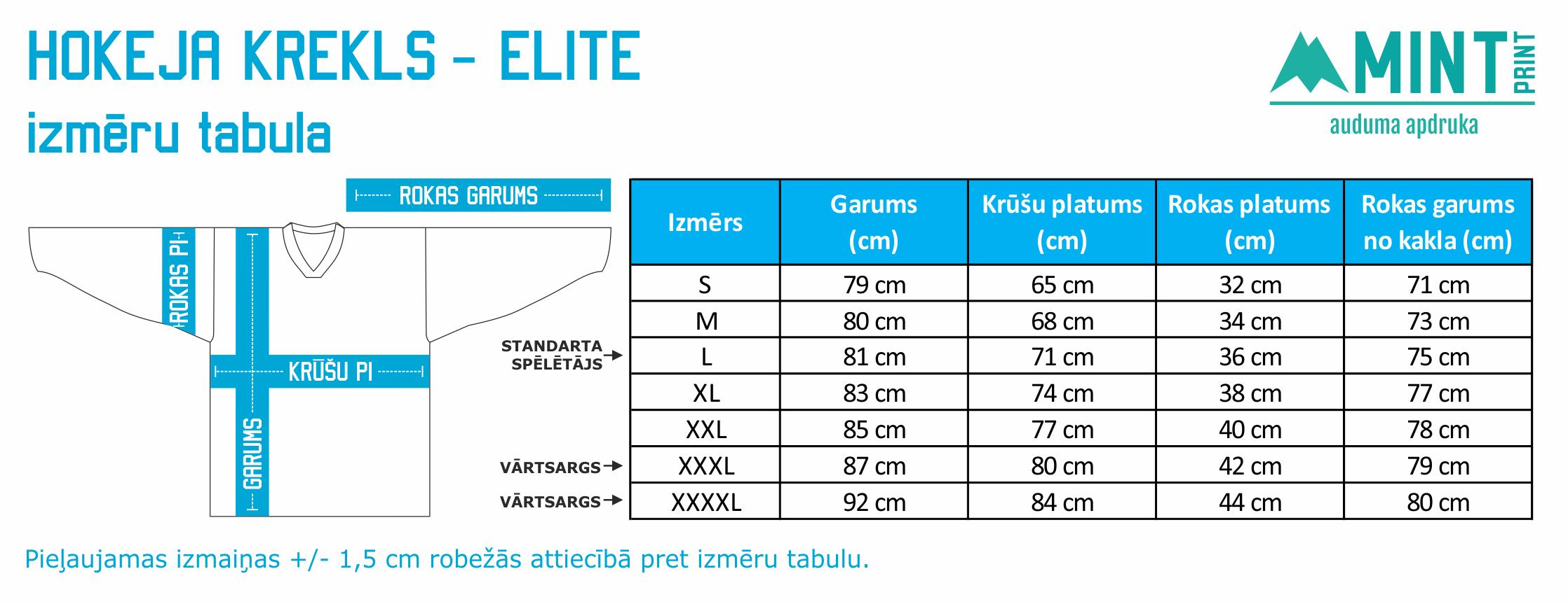 MINTprint hokeja krekla izmeru tabula elite spelu krekls 15