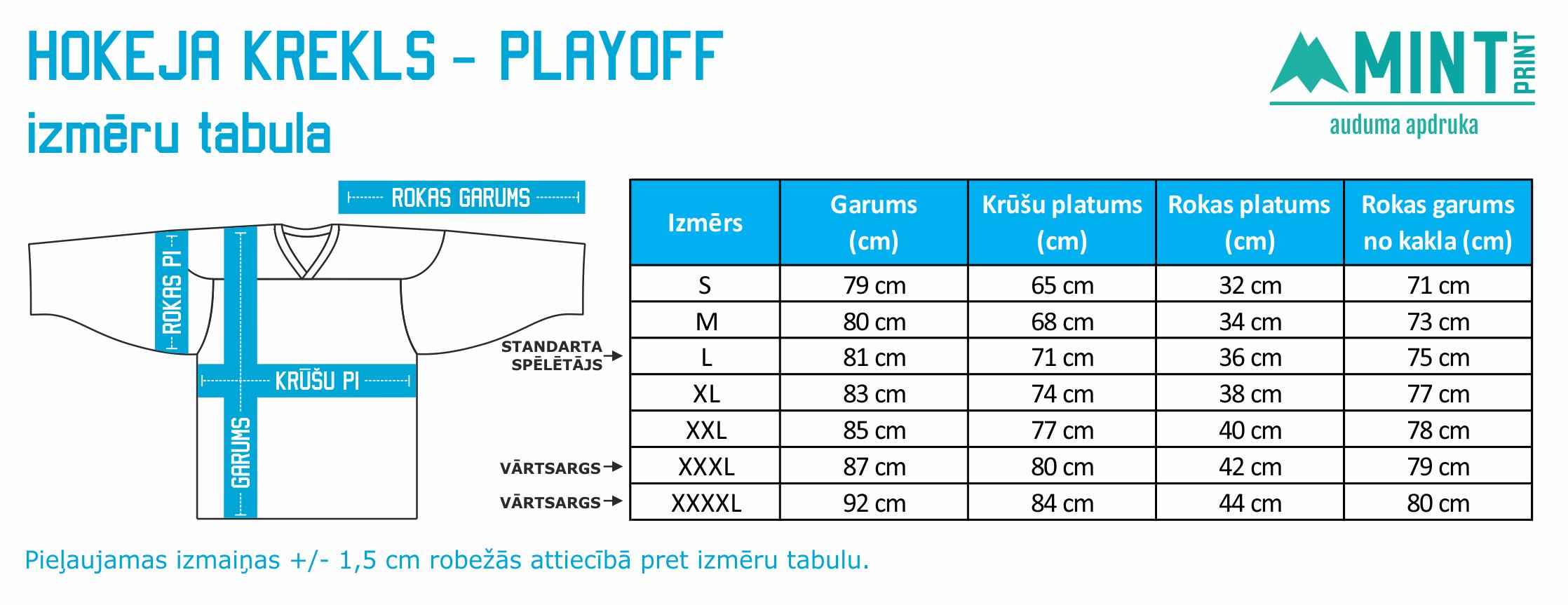 MINTprint hokeja krekla izmeru tabula playoff spelu krekls 15