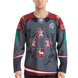 Latvijas hokeja izlases pārbaudes mājas spēļu tumšais fanu krekls