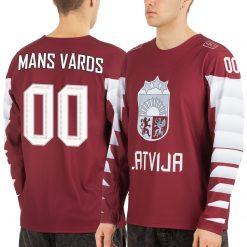 Latvijas hokeja izlases fanu krekls mājas sarkans