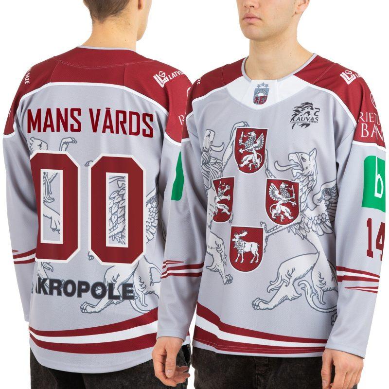 Latvijas hokeja izlases pārbaudes izbraukuma gaišais fanu krekls
