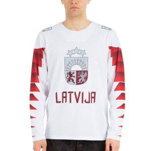 Latvijas hokeja izlases fanu krekls izbraukuma balts