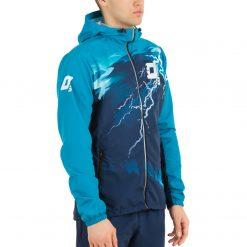 Skriešanas jaka ar kapuci vīriešu ar komandas dizainu