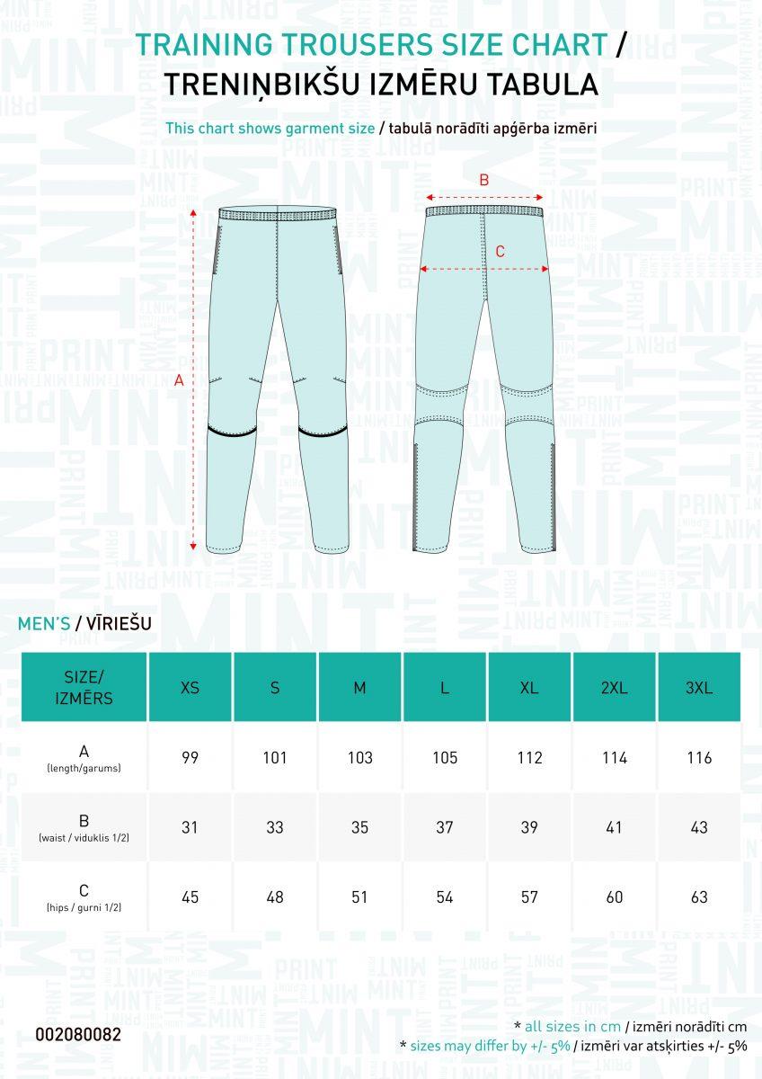 Vīriešu bikšu izmēru tabula