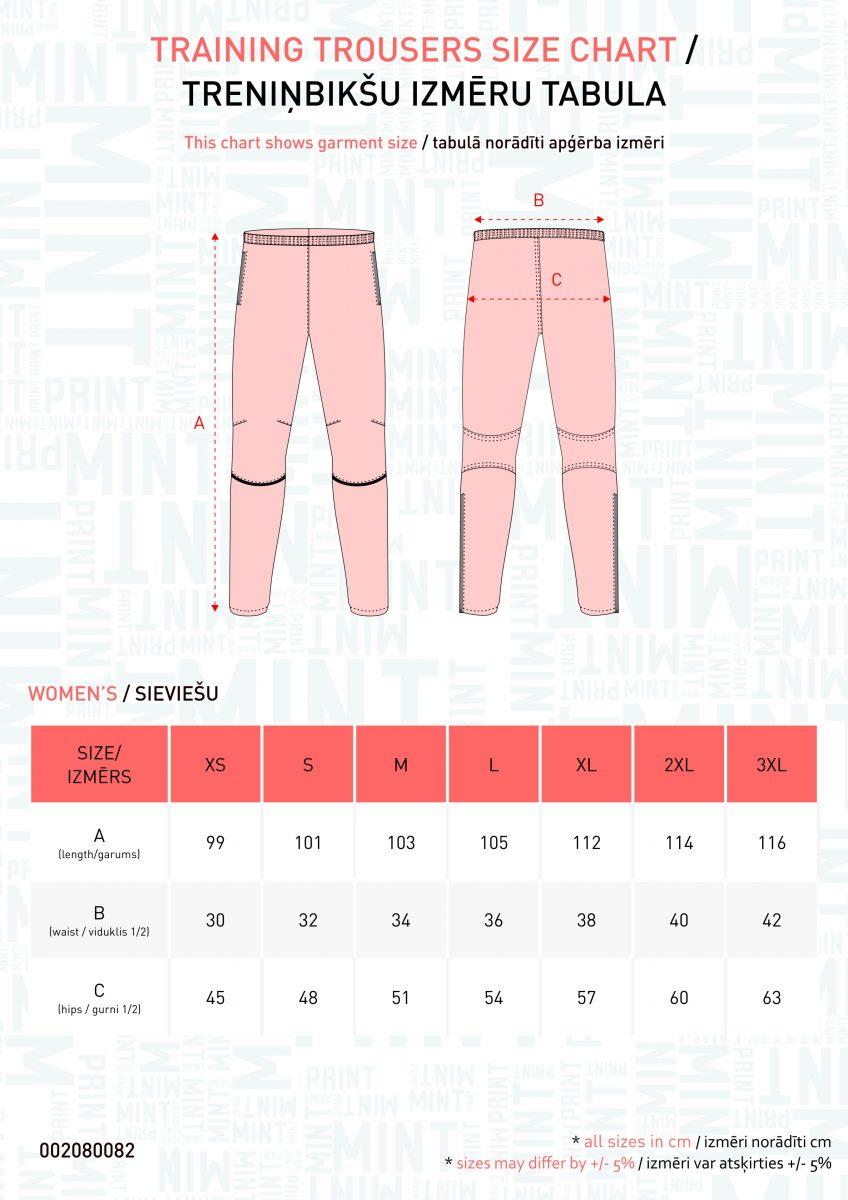Sieviešu bikšu izmēru tabula