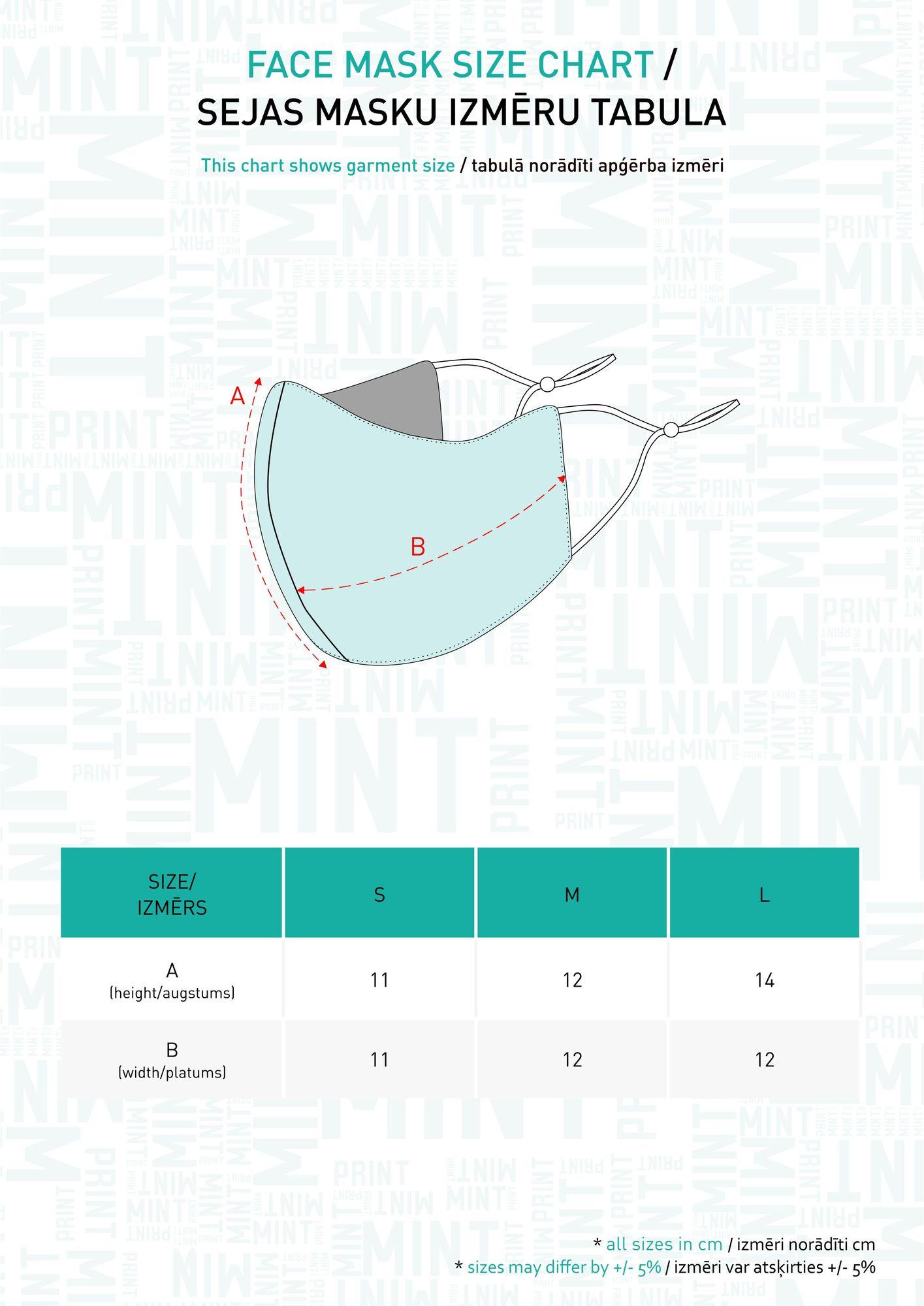 Sejas masku izmēru tabula