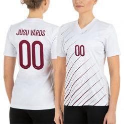 Latvijas Futbola izlases fanu krekls sieviešu izbraukuma balts