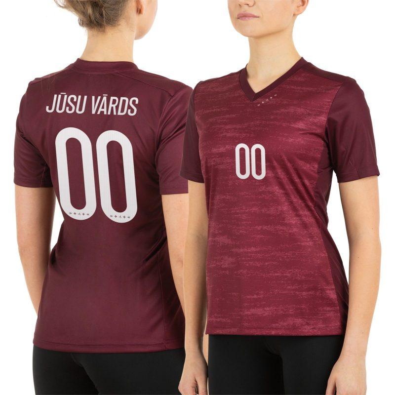 Latvijas Futbola izlases fanu krekls sieviešu mājas sarkans
