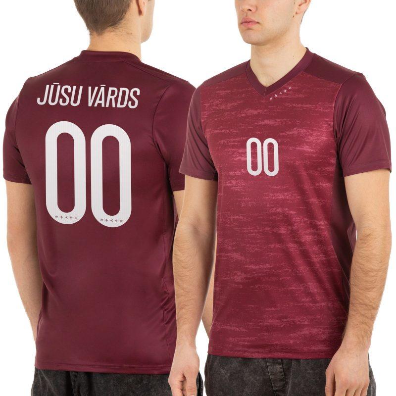 Latvijas Futbola izlases fanu krekls vīriešu mājas sarkans