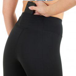 Pieguļošas skriešanas bikses ar augsto jostu melnas sieviešu