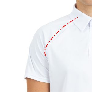 Piemērs polo kreklam ar reglāna tipa piedurknēm