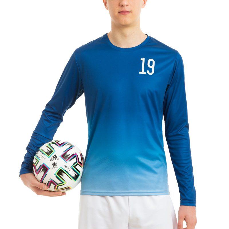 Futbola krekls iesildīšanās ar garām piedurknēm apdruka komanda